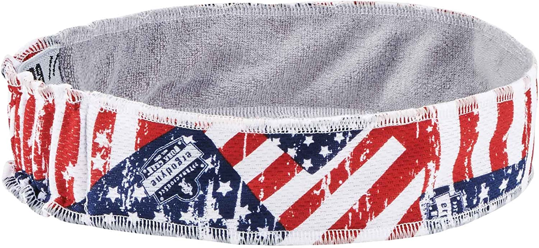 Ergodyne Chill-Its 6605 Headband, Lined with Terry Cloth Sweatband, Sweat Wicking, Stars and Stripes