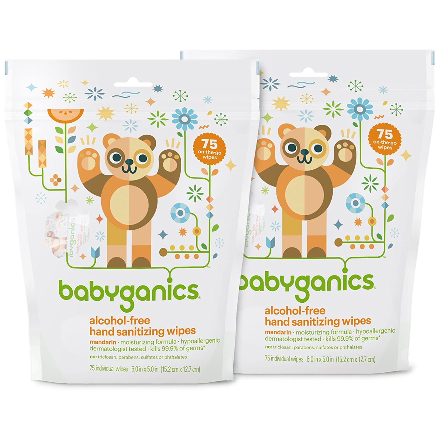 Babyganics Hand Sanitizing Individual Packet Wipes (Pack of 2)