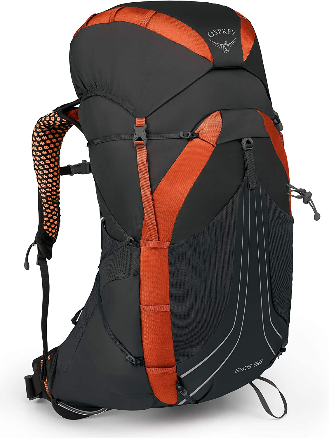 This is an image of the Osprey Exos 58 backpacking backpack in black and orange color on a white background, buckle straps and zippers are seen.