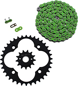 Fits Honda 400EX TRX400EX 520-94 Green O Ring Chain /& Sprocket Black 14//36