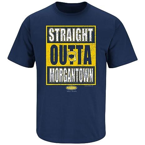672b39c5 Smack Apparel West Virginia Football Fans. Straight Outta Morgantown. Navy  T Shirt (Sm