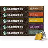 Starbucks by Nespresso, Favorites Variety Pack (50-count single serve capsules, 10 of each flavor, compatible with Nespresso