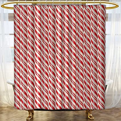 Anhounine Candy Cane Shower Curtains Mildew Resistant Red Christmas Candies Pattern With Diagonal Stripes Traditional Winter