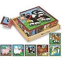 Melissa & Doug- Farm Cube Puzzle Rompecabezas de Cubo de 16 Piezas de Madera, Color surtido (775)
