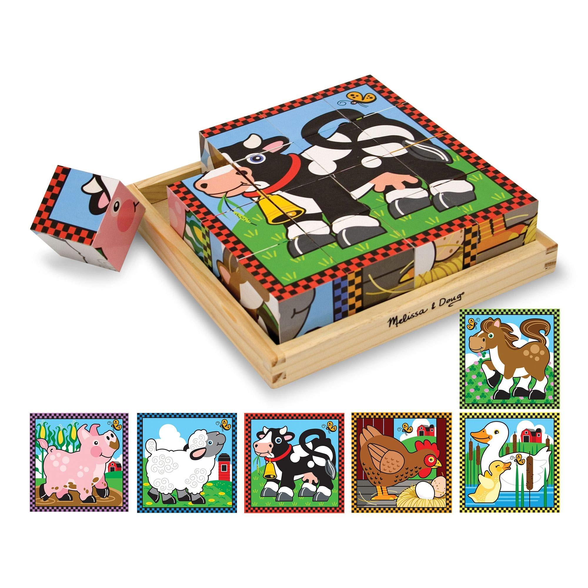Melissa & Doug Farm Cube Puzzle (Preschool Kids, Six Puzzles in One, Sturdy Wooden Construction, 16 Cubes and Wooden Tray, 20.32 cm H x 20.32 cm W x 5.715 cm L)