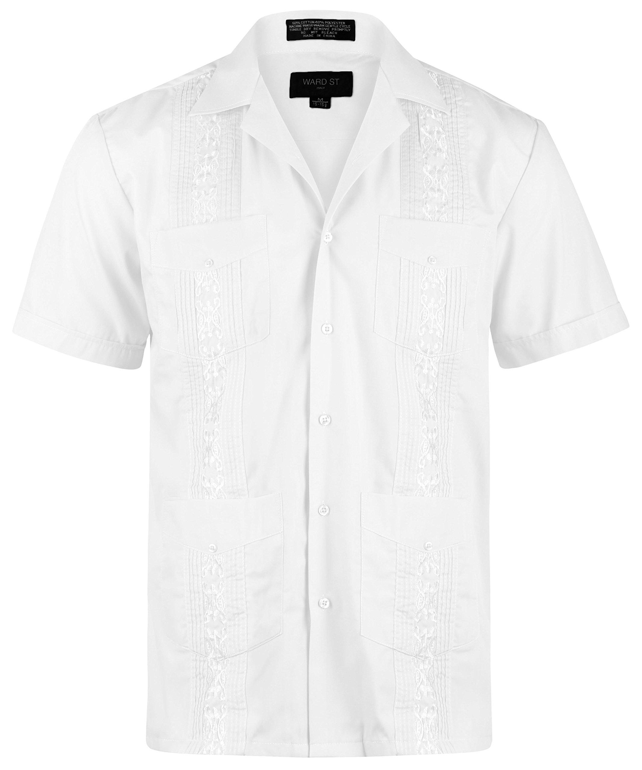 Ward St Men's Short Sleeve Cuban Guayabera, L, 16-16.5N, White
