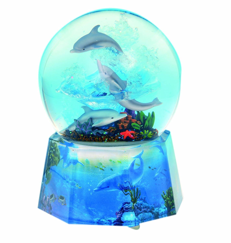 最も優遇の MusicBox Kingdom Box 25215 Globe Kingdom Dolphin Glitter Globe Music Box Playing