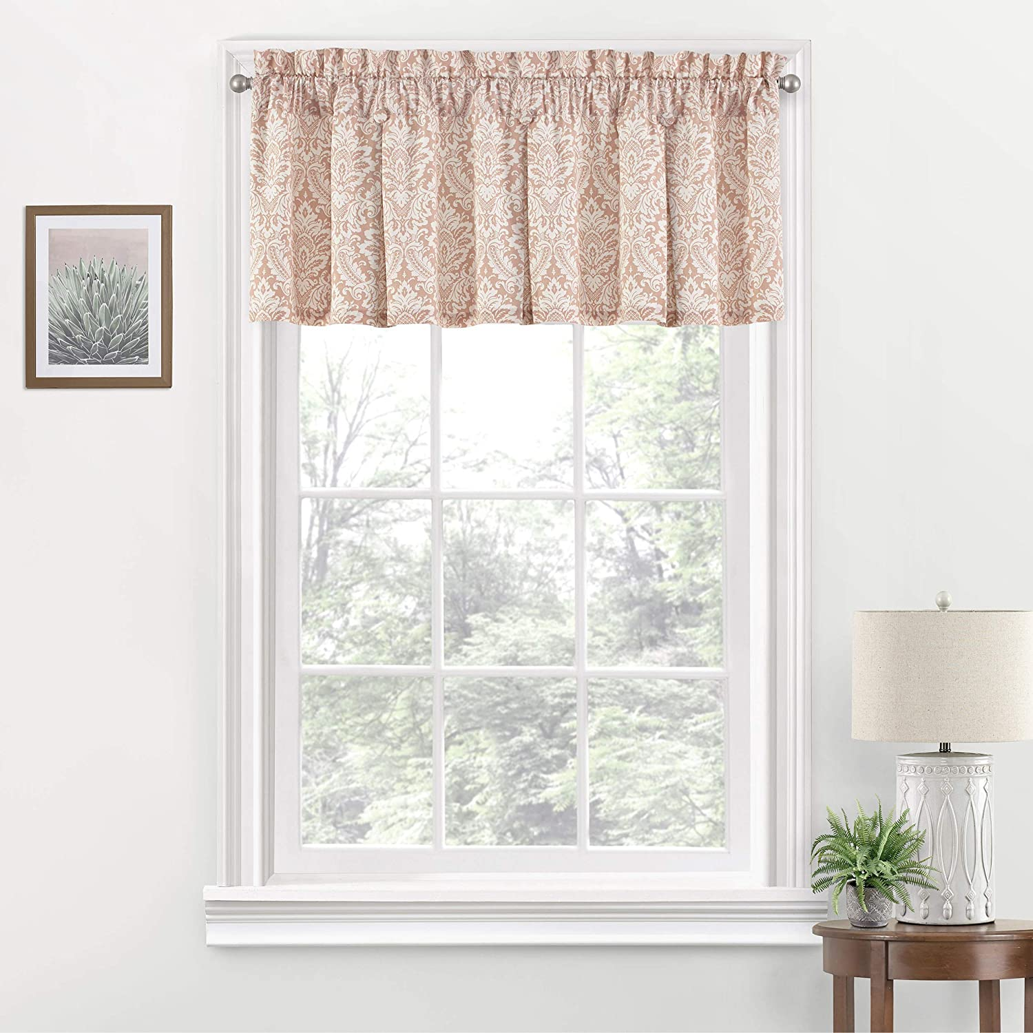 "Waverly Donnington Short Valance Small Window Curtains Bathroom, Living Room and Kitchens, 52"" x 18"", Blush"
