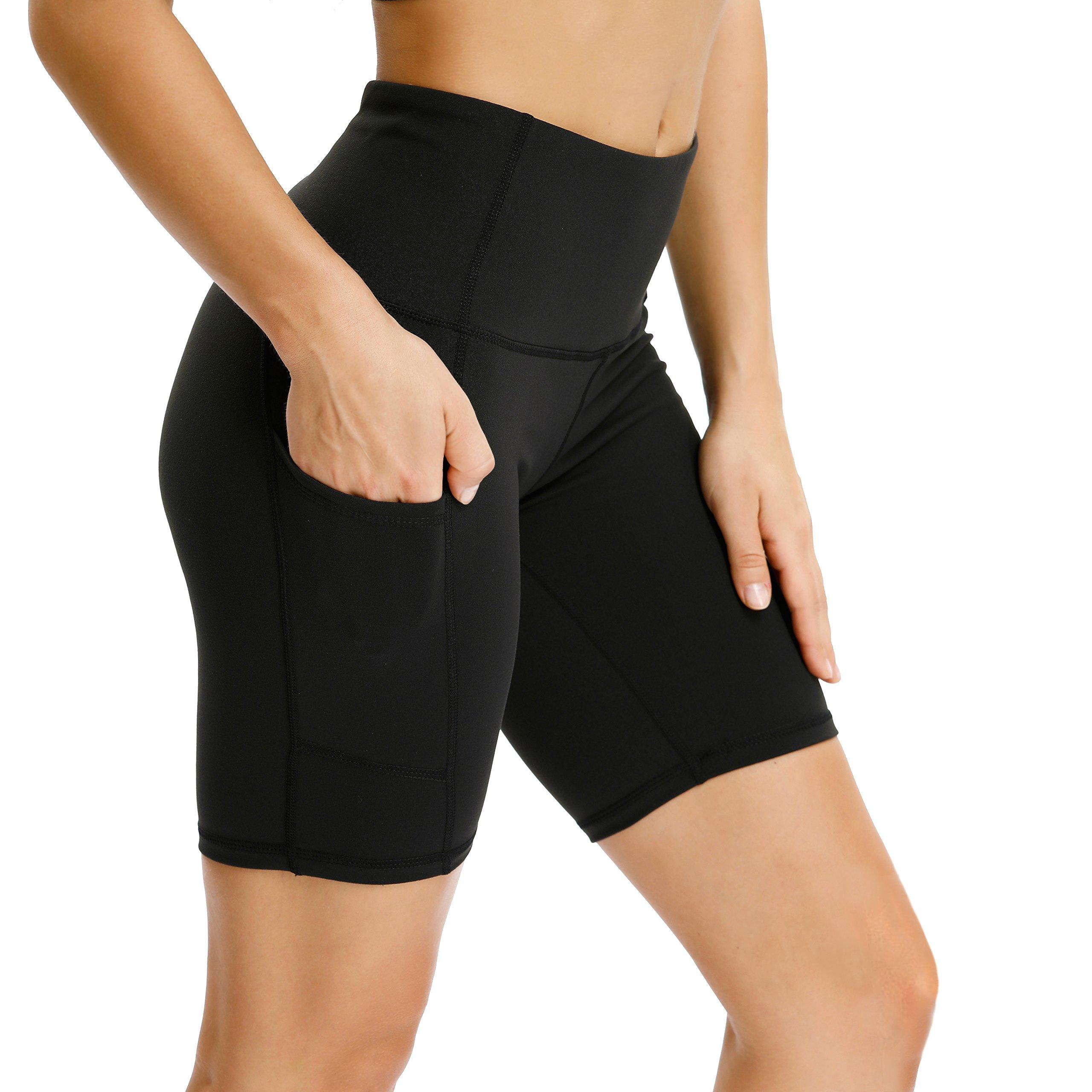 Vogyal Women's 8'' Yoga Shorts High Waist Tummy Control Workout Running Shorts with 2 Pockets -Black XL