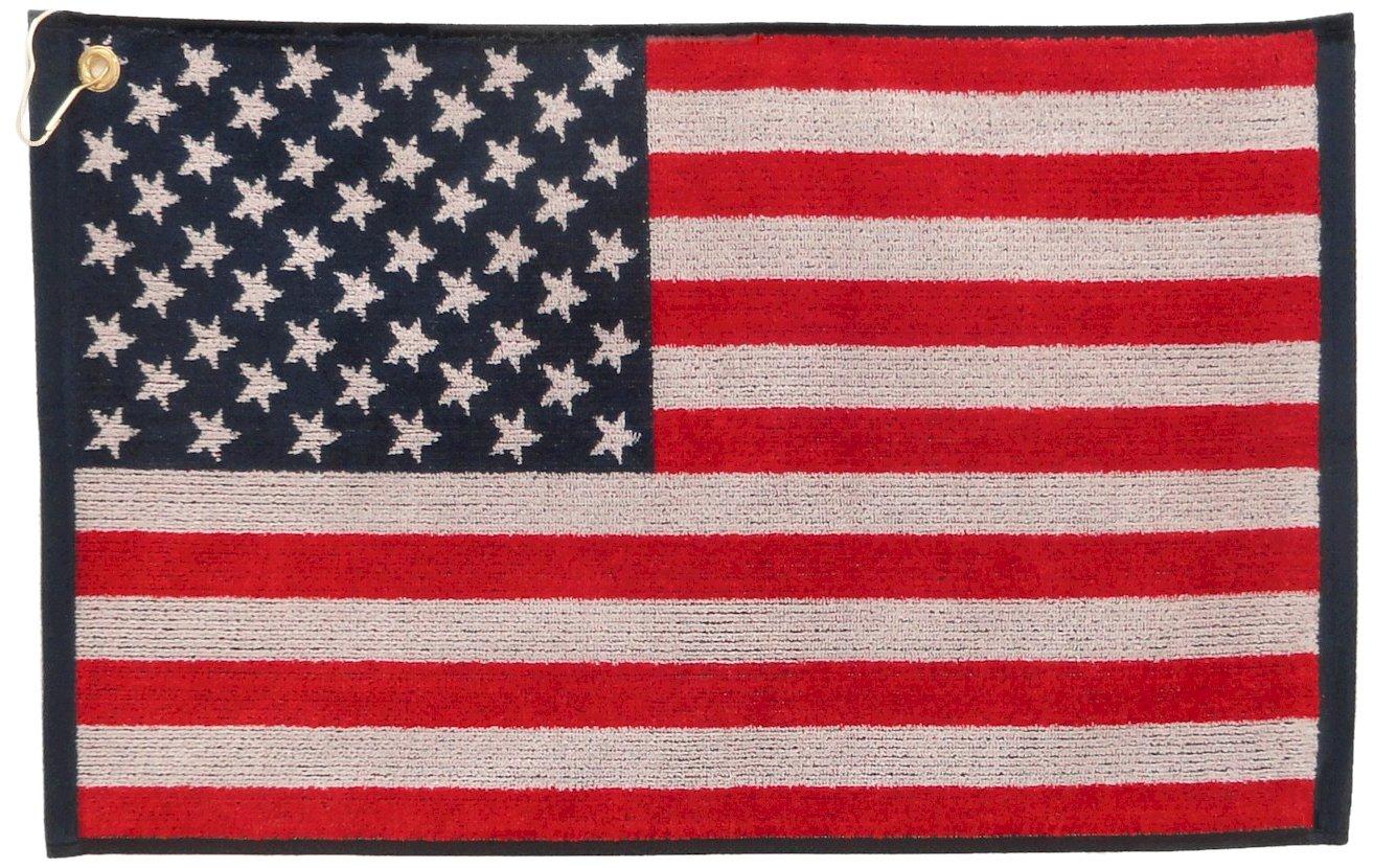 JP Lann Golf USA Flag Golf Towel - Jacquard Style, Red/White/Blue by JP LANN GOLF
