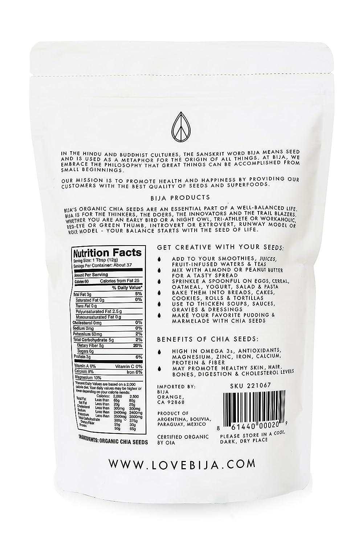 Bija negro orgánico Semillas de Chía, USDA Certificado, sin ...
