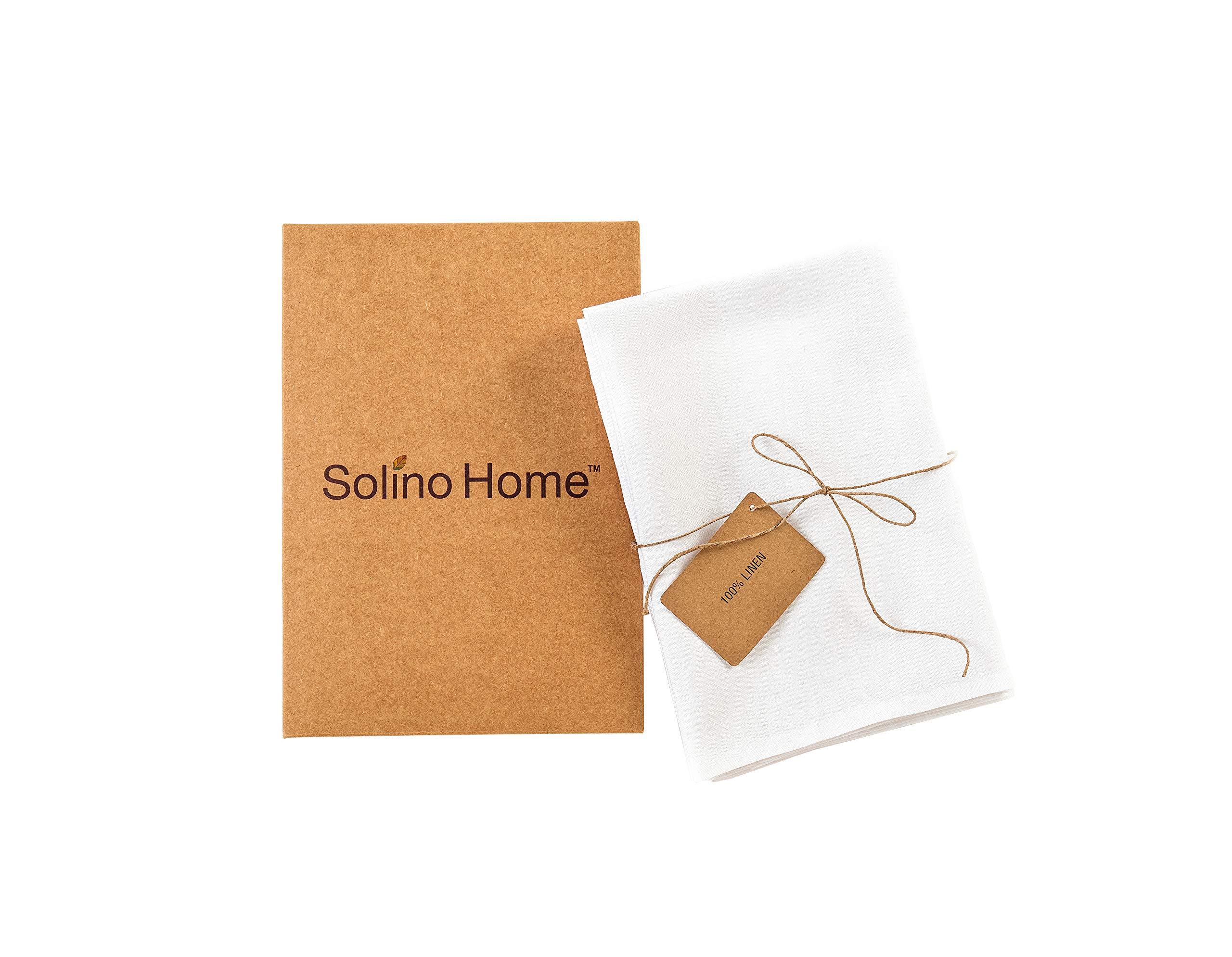 Solino Home Linen Dinner Napkins - 20 x 20 Inch White, 4 Pack Linen Napkins, Athena - 100% European Flax, Soft & Handcrafted with Mitered Corners by Solino Home (Image #4)