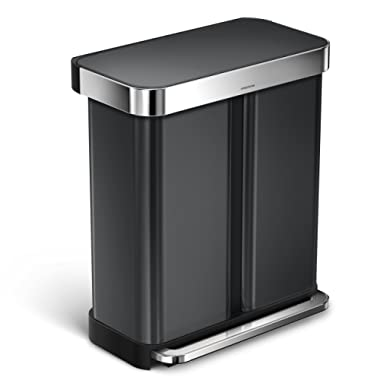 simplehuman 58 L/15 Gallon Dual Compartment Step Can Recycler with Liner Pocket, 58 Liter, Black Stainless Steel