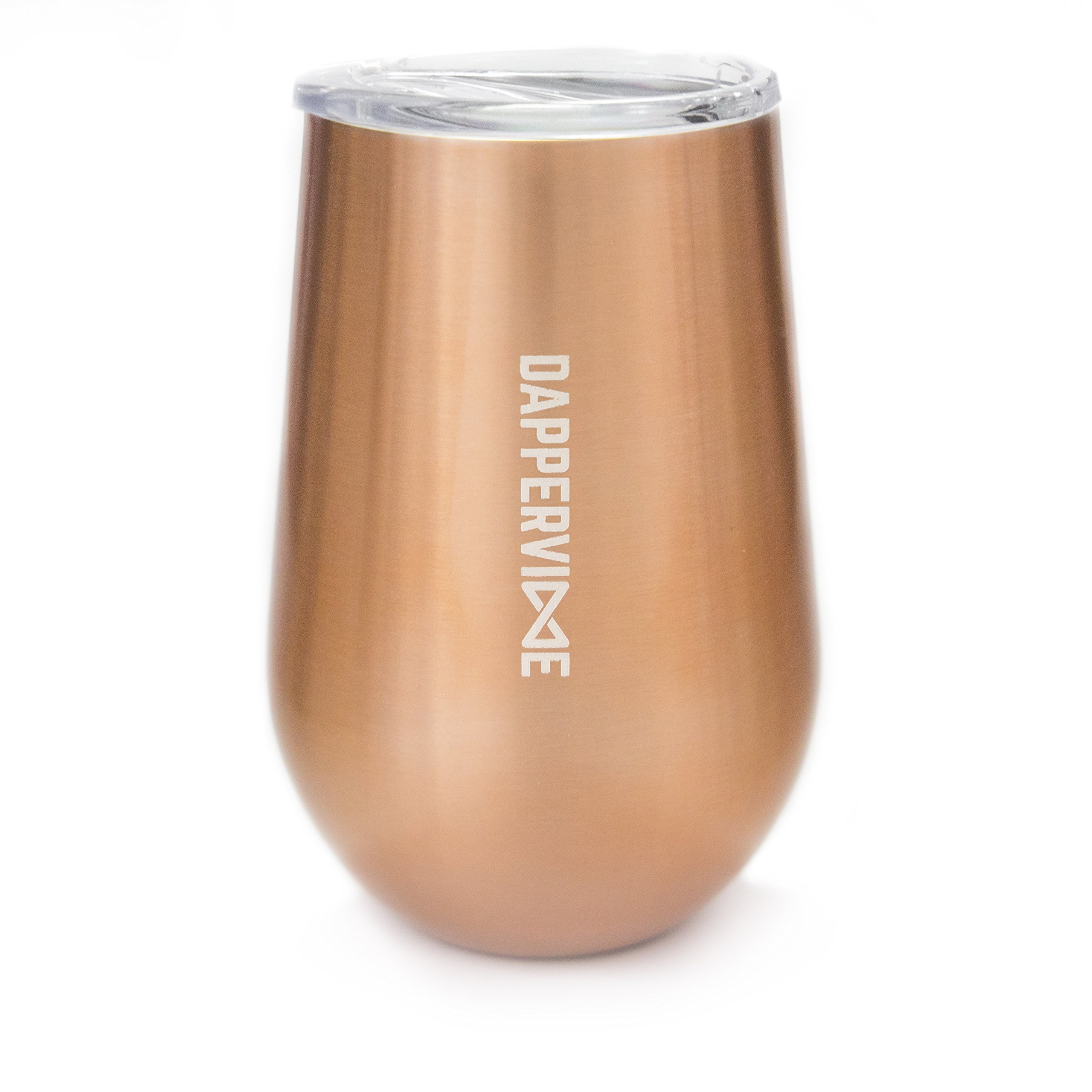 Stainless Steel Wine Tumbler with Lid by DAPPERVINE, stemless wine glass, unbreakable, shatterproof, double wall insulated, great for wine, coffee and tea, perfect 7th anniversary gift (copper, 12oz)