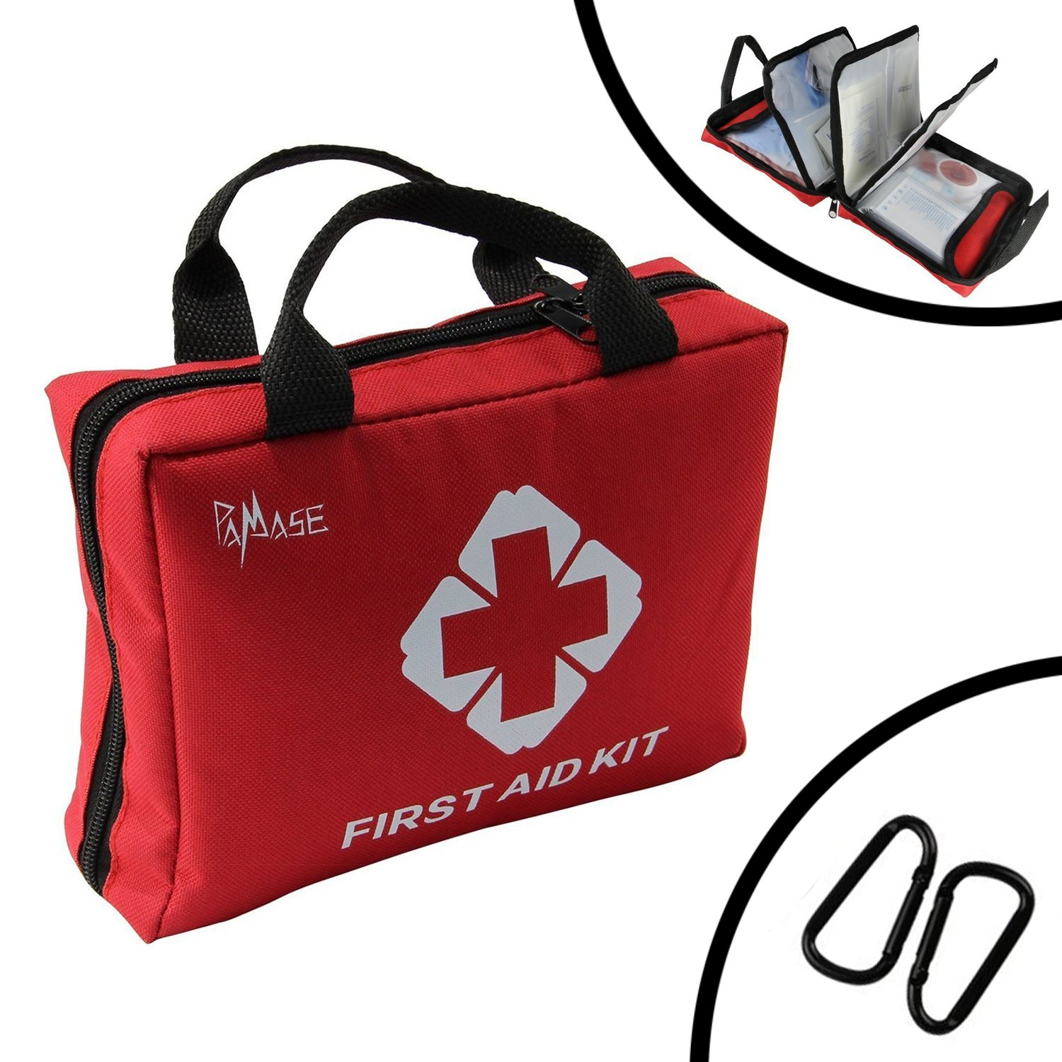 PAMASE First Aid Medical Kit for Survival(123 PCS) - Emergencies Lightweight Compact Bag for Car,Home,Office,Sports,Travel,Hiking