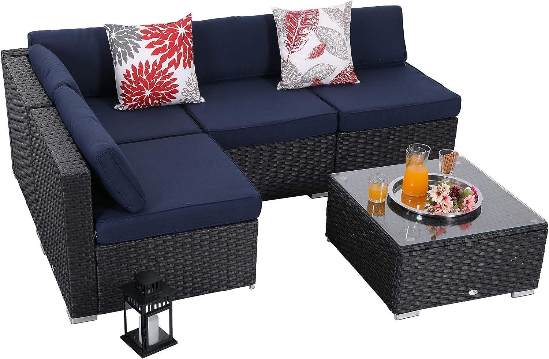 PHI VILLA 5-Piece Outdoor Furniture Set Rattan Wicker Patio Sectional Sofa with Tea Table, Blue