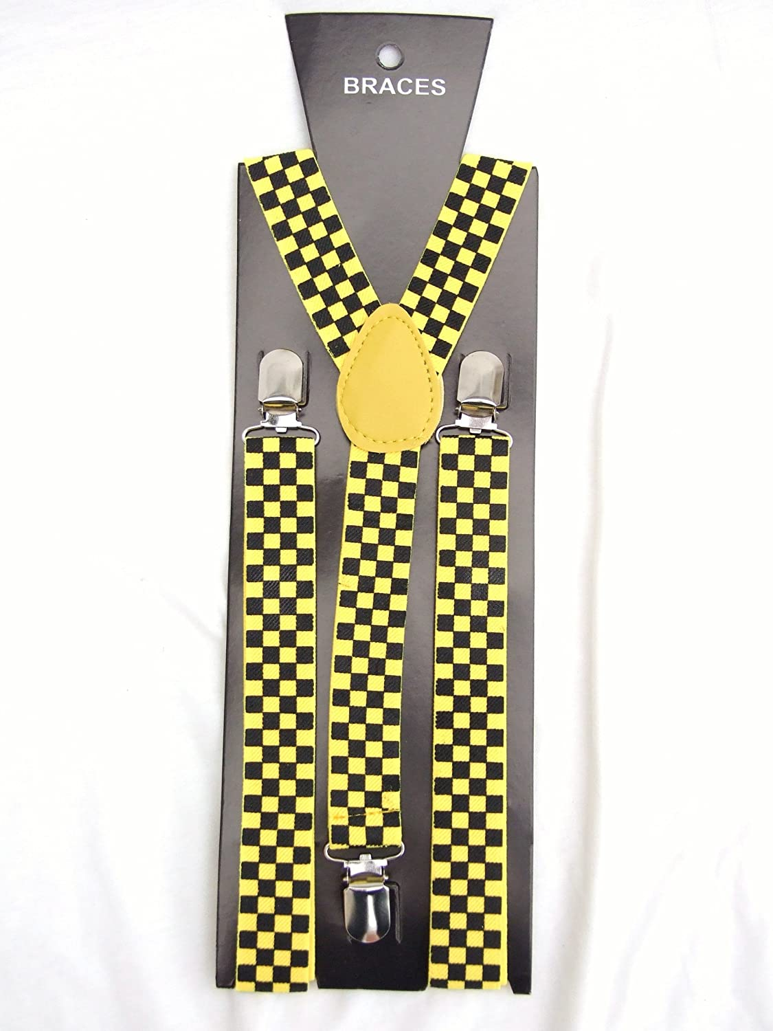 Pair Fashion Braces [suspenders] in a black and yellow check design.2.5cm wide ,Adjustable with metal adjusters and snap fasteners .