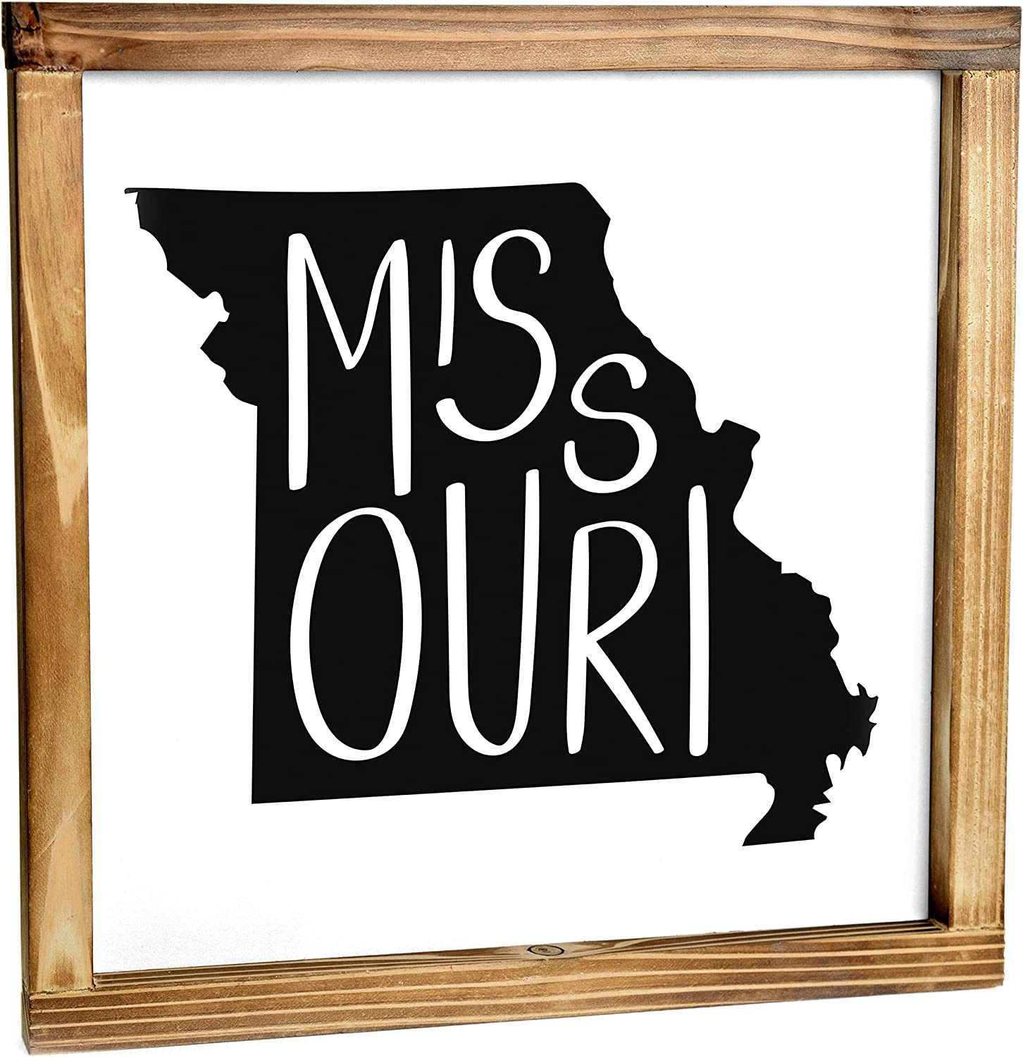 Missouri Sign - Rustic Farmhouse Decor For The Home - Missouri State Sign, Modern Farmhouse State Gift, Missouri Wall Decor, State Souvenir, Rustic Home Decor Sign With Solid Wood Frame 12x12 Inch