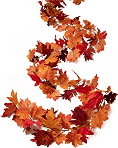 Tiny Land 2 Pack Fall-Garland-Maple-Leaf, 6ft Foliage Mantle Vine Fall-Decor Artificial Autumn Decoration for Home, Fireplace, Mantle, Front Door, Thanksgiving Decor