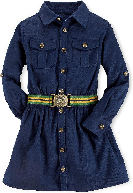 Amazon.com: Ralph Lauren Polo Girls Chino Cargo Shirtdress Dress ...