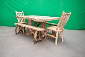Midwest Log Furniture - Rustic Pine Log Dining Table w/ 2 Chairs/ 2 Benches