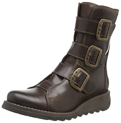 dea5f75b51 FLY London Scop Womens Leather Buckle Biker Ankle Boots 36 C (M) EU/