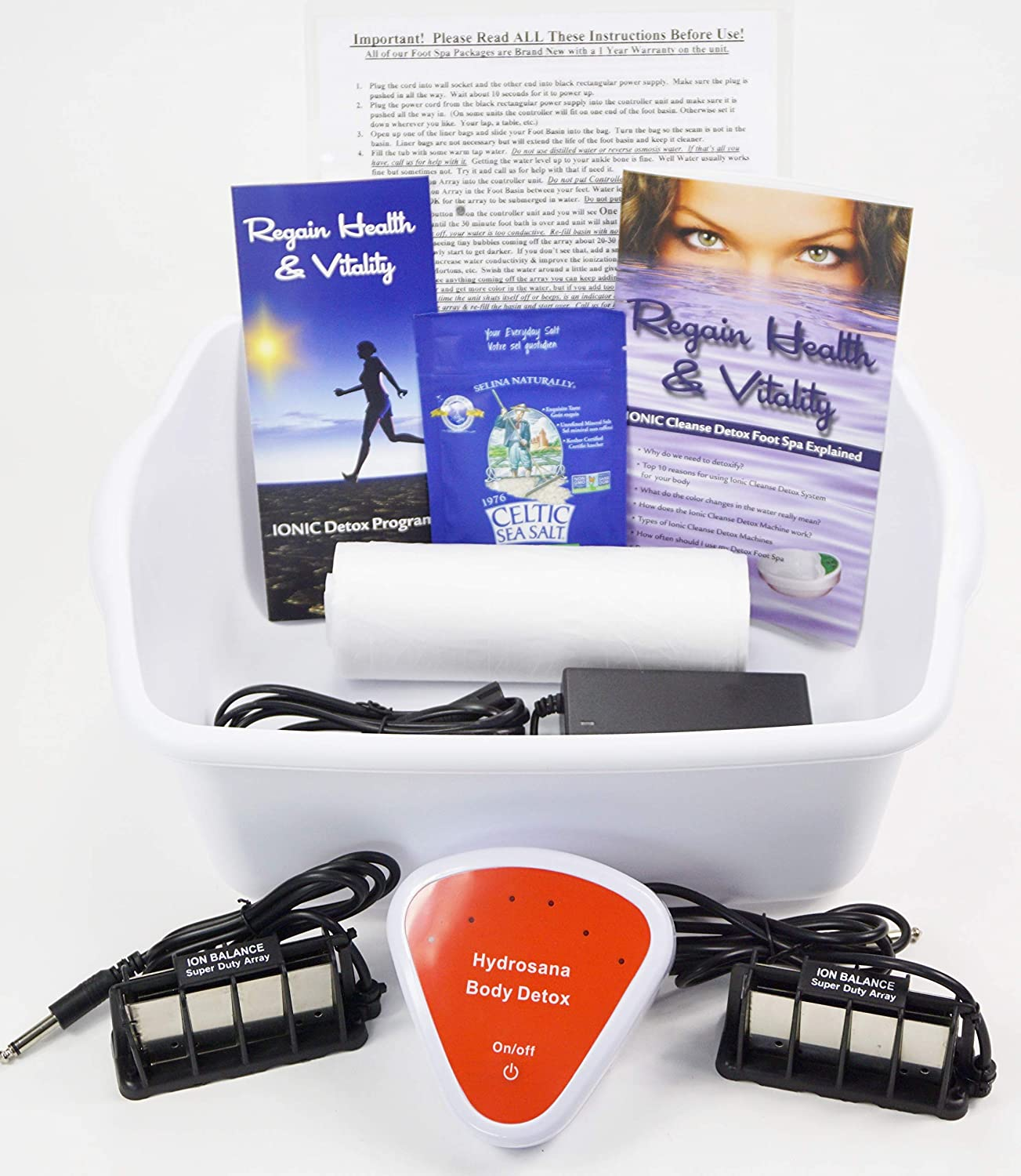 B00P8FWK7I Foot Spa - DR. DETOX - Ion Detox Ionic Foot Bath Spa Chi Cleanse Unit for Home Use. Comes with Free Extras! 1 Year Warranty 81uaY823FkL.SL1500_
