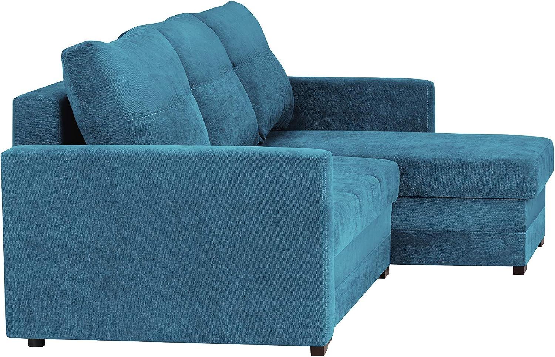 mit Aufbewahrungsbox wendbar 3-Sitzer 220 x 145 x 90 cm Melart Ecksofa umbaubar blau