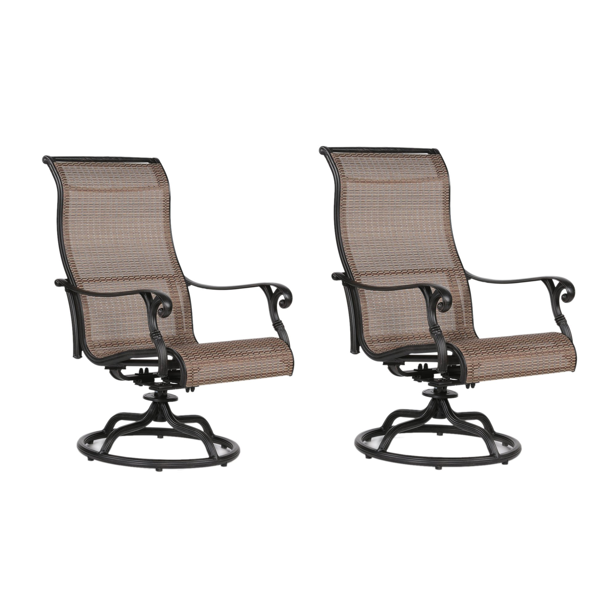 Sling Swivel Rocker Patio 2 Chairs with Aluminum Frame, All-Weather Furniture (Set of 2)