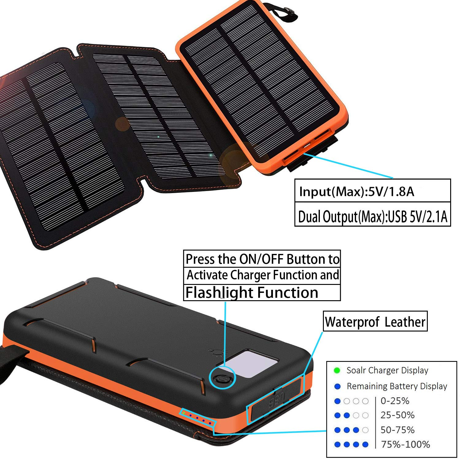 Solar Charger 24000mAh,Solar Power Bank Waterproof Dual USB Output with 3 Solar Panels External Battery Bank with Flashlight for iPhone,Samsung,iPad and Outdoor Camping(Orange) by WBPINE (Image #4)