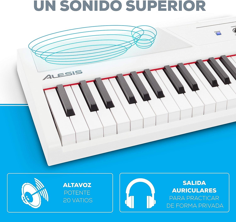Alesis Recital White - Teclado de piano digital de color blanco con 88 teclas semi-contrapesadas de tamaño completo, fuente de alimentación, altavoces ...