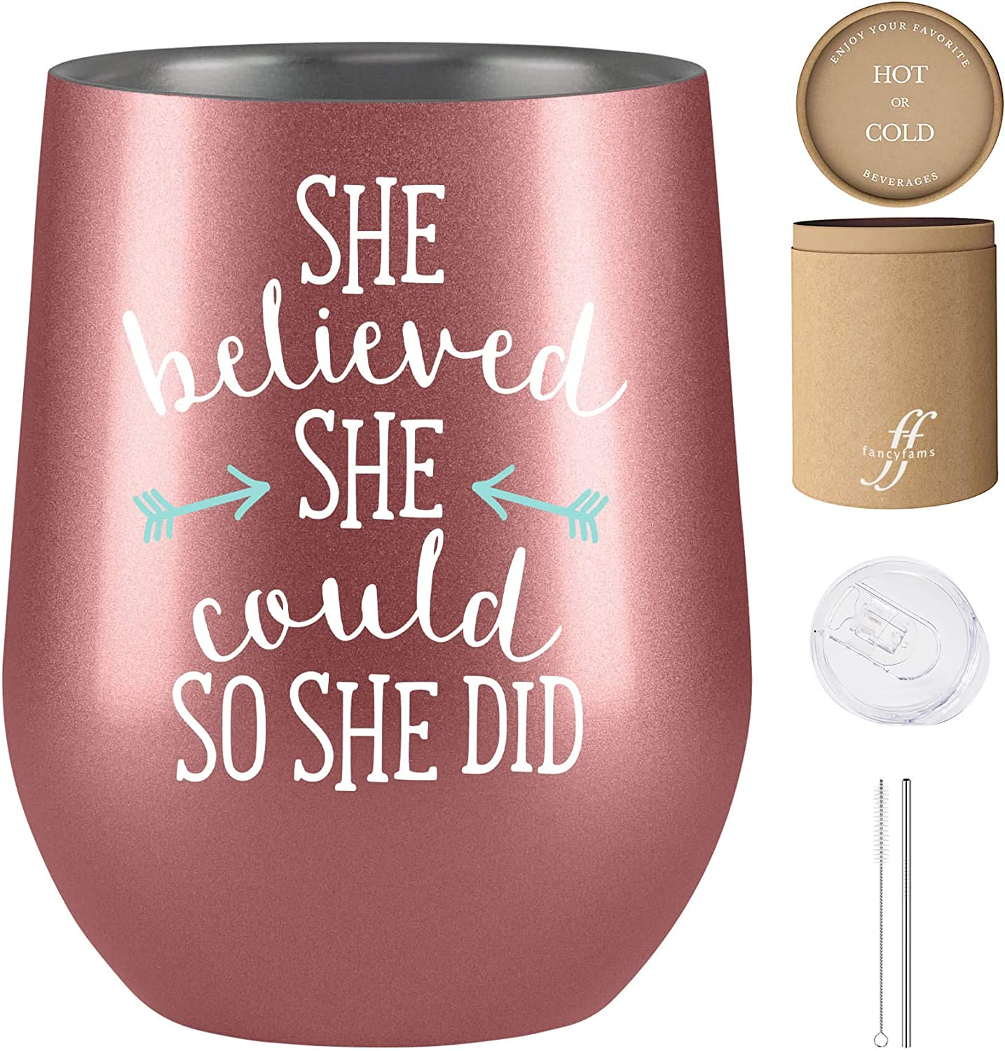 She Believed She Could So She Did - Congratulations Gifts - Graduation Gifts for Her - 12 oz Stainless Steel Wine Tumbler (Rose Gold)