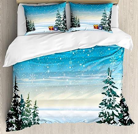 Winter Scene Duvet Cover Set Snowflakes Trees Presents Christmas ...