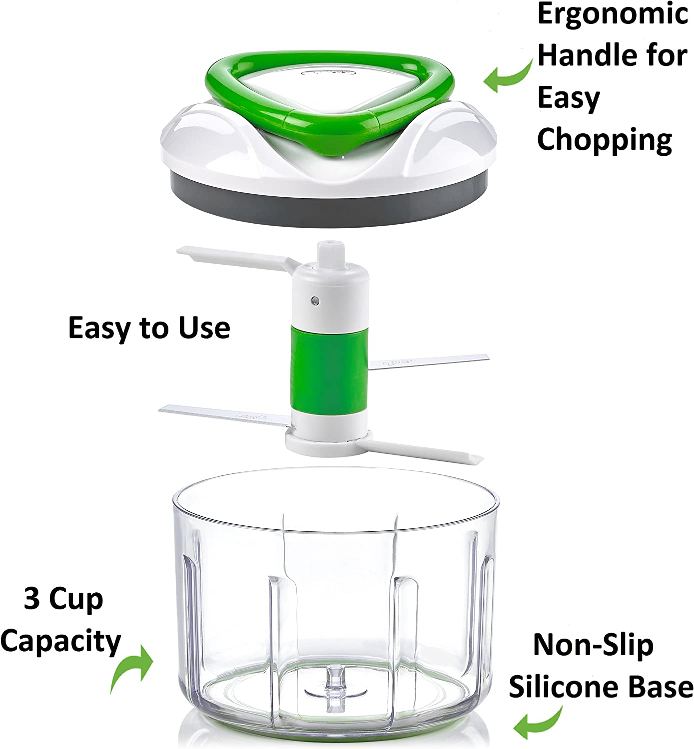 ZYLISS Easy Pull Food Chopper and Manual Food Processor – Vegetable Slicer and Dicer – Hand Held Green.