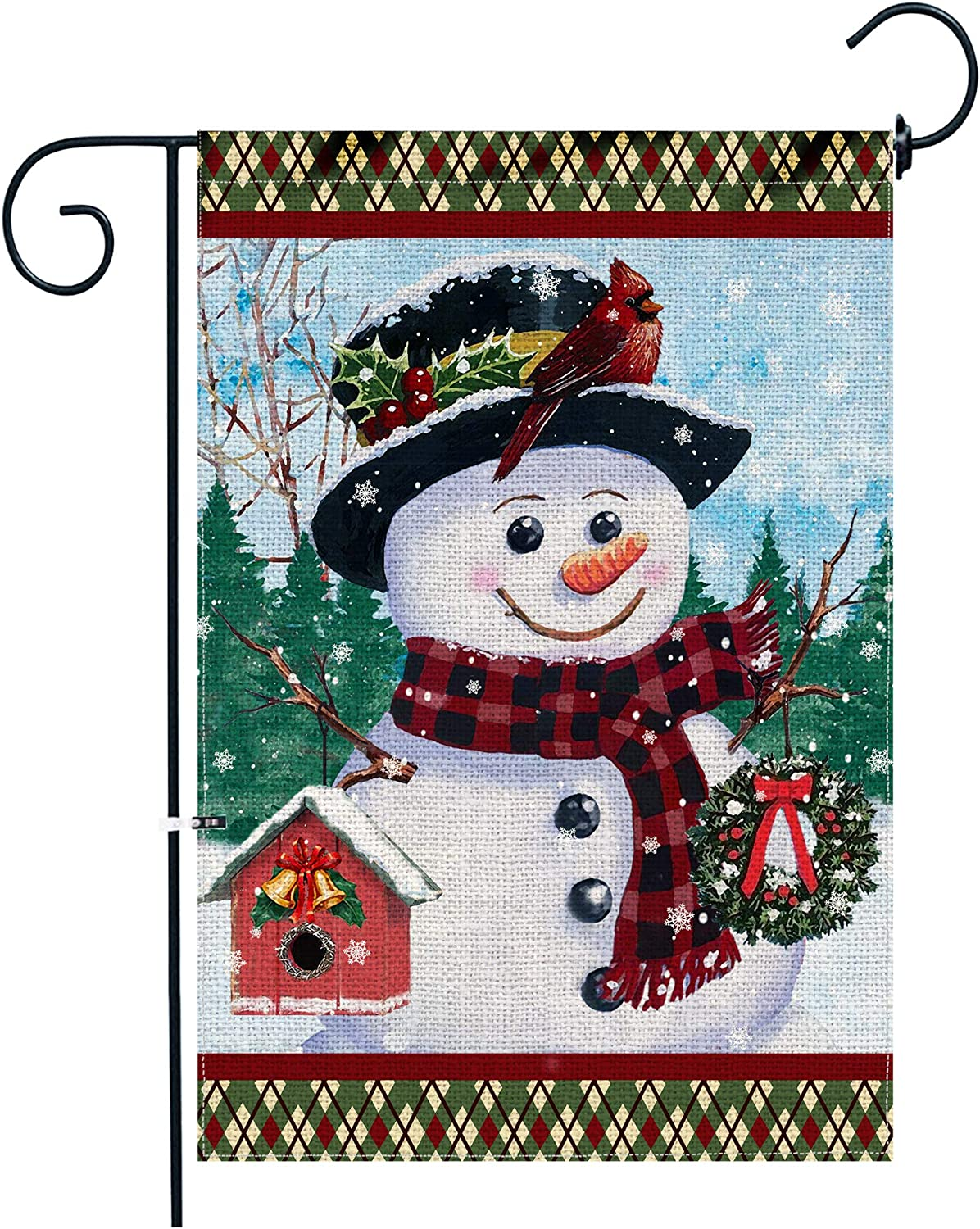 pinata Snowman Garden Flag 12 X 18 Inch Double Sided, Winter Christmas Yard Flag, Holiday Banners Seasonal Outdoor Decorations