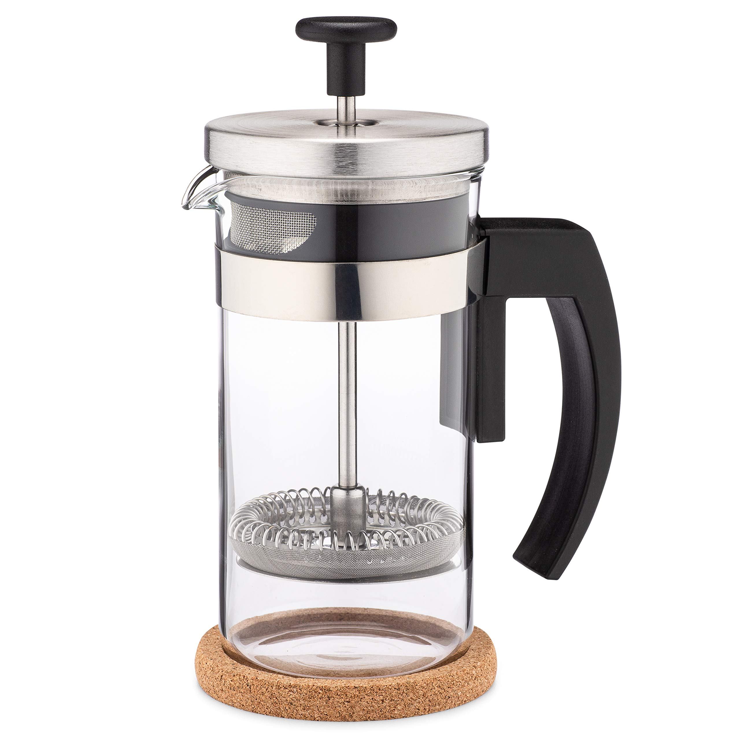 Brillante Small French Press Coffee Maker with 12 Ounce Glass Beaker - Single Serve Cafetiere and Tea Maker BR-CP1-350 by Br BRILLANTE