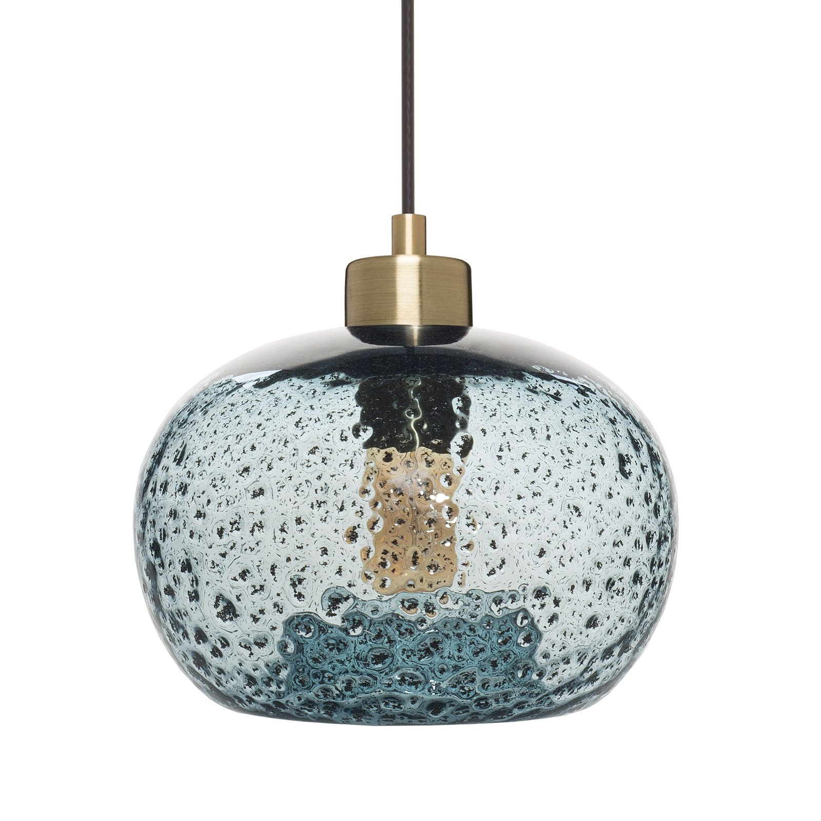Led Rustic Light Blue Strapped Metal Pendant Light With Led: Casamotion Mini Pendant Light Handblown Rustic Seeded