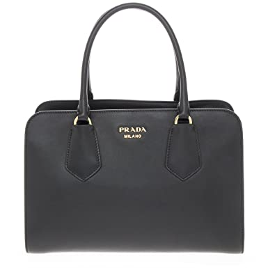 33573eb13f56 Amazon.com  Prada Woman s Smooth Leather Top Handle Bag Black  Clothing