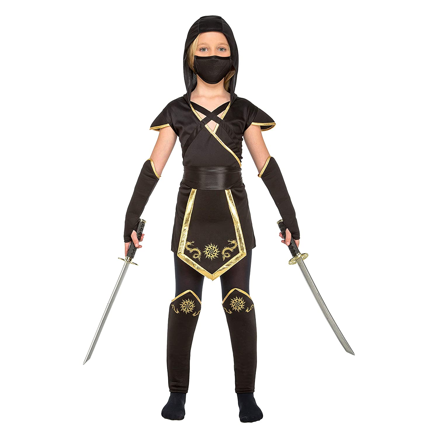 My Other Me Me-204893 Disfraz de ninja para niña, color negro, 10-12 años (Viving Costumes 204893)