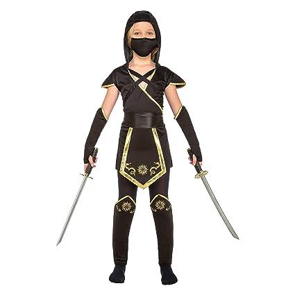 My Other Me Me-204891 Disfraz de ninja para niña, color negro, 5-6 años (Viving Costumes 204891)