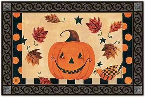 Country Pumpkin Fall MatMates Doormat Primitive Jack O lantern Indoor Outdoor 18 x 30