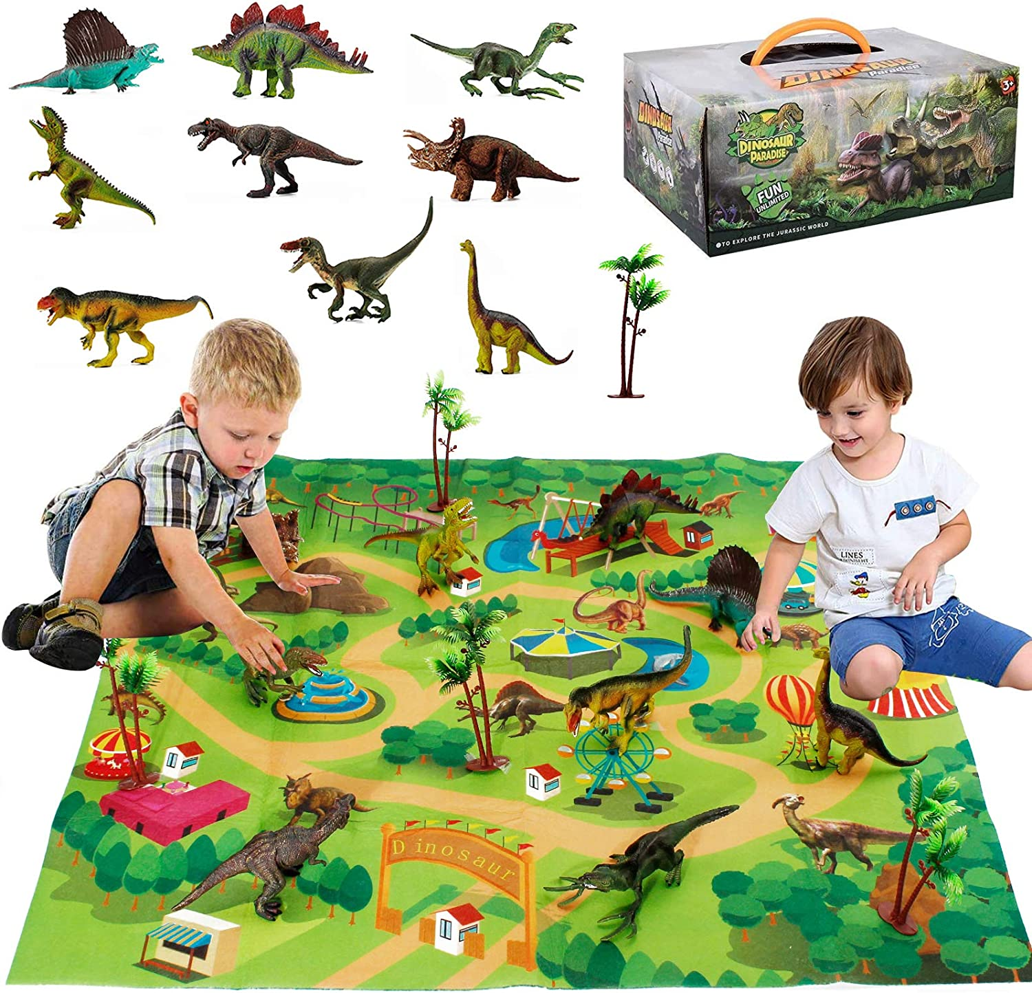 Dinosaur toy figure with playmat & trees, detachable educational playset