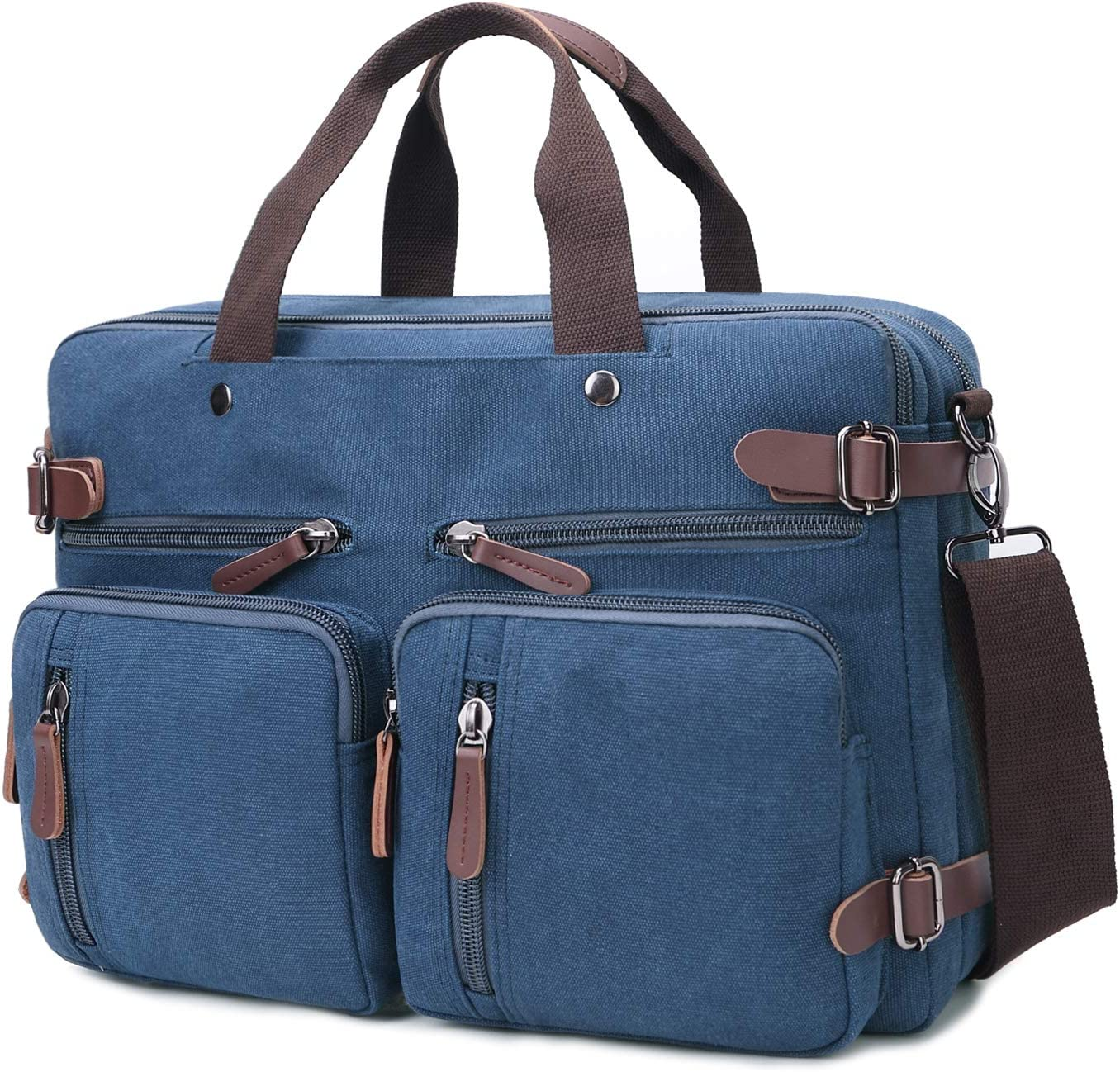Convertible Laptop Backpack 15.6 Inch Messenger Bag for Men/Women (15.6 Inch, Blue)