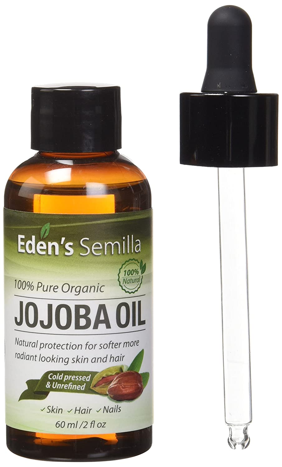 100% Pure Jojoba Oil - 120ml - Certified ORGANIC - Best Natural Oil Moisturiser for Radiant Looking Skin, Silky Smooth Hair and Strong Nails - Ideal For Sensitive Skin - All Round Protection Day & Night - Cold Pressed & Unrefined Eden's Semilla
