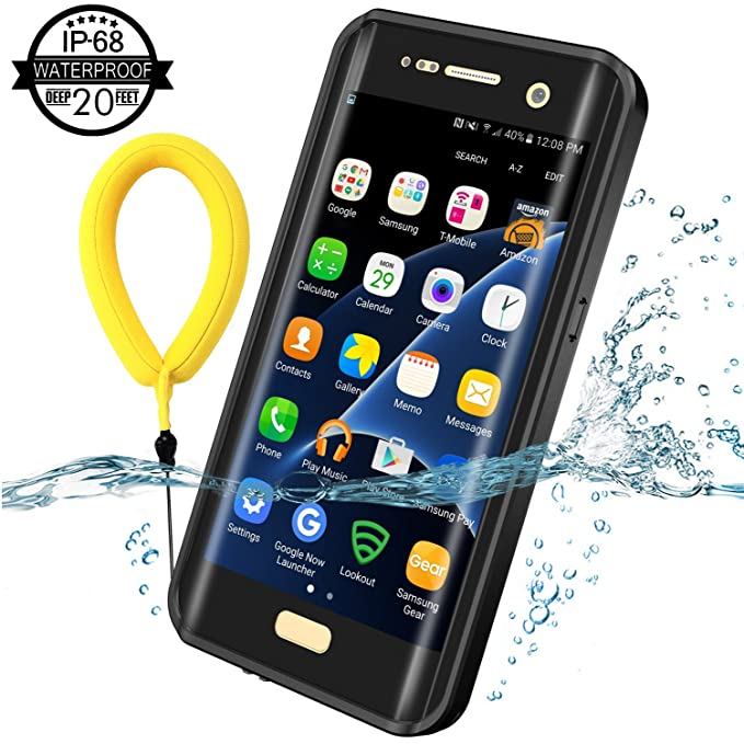 Samsung Galaxy S7 Edge Waterproof Case, Temdan 2018 Support Wireless  Charging Case with Floating Strap Built in Screen Protector IP68 Waterproof