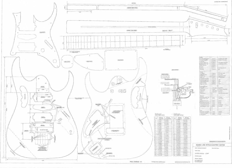 Ibanez guitarra eléctrica Planes – dibujos técnicos diseño escala ...