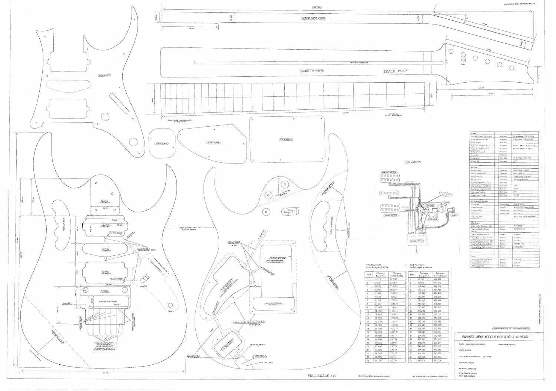 Ibanez guitarra eléctrica Planes - dibujos técnicos diseño escala completa - JEM 777- tamaño real Planes: Amazon.es: Instrumentos musicales