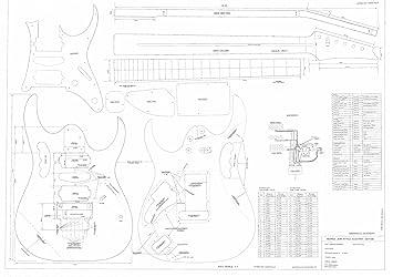 Ibanez guitarra eléctrica Planes – dibujos técnicos diseño escala completa – JEM 777- tamaño real
