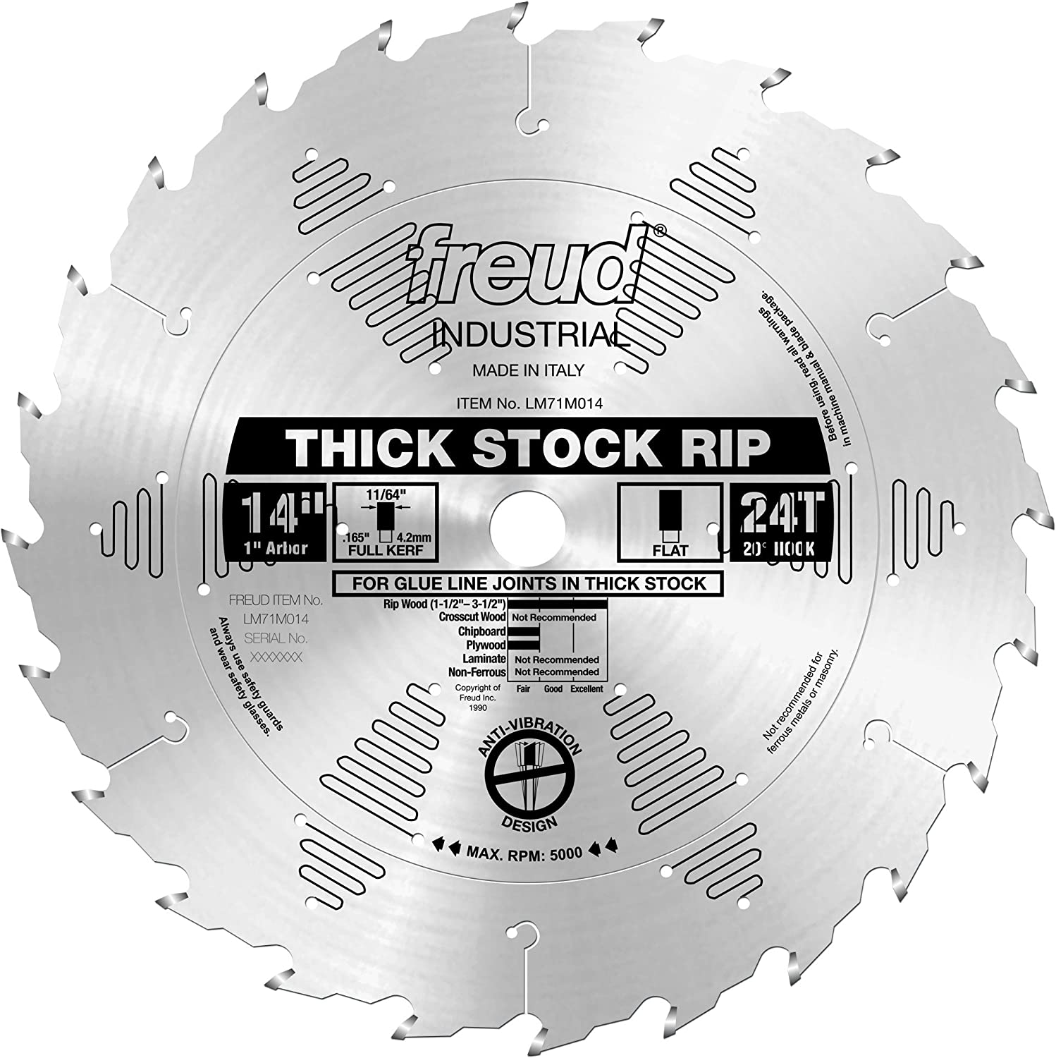 "Freud 14"" x 24T Thick Stock Rip Blade (LM71M014)"