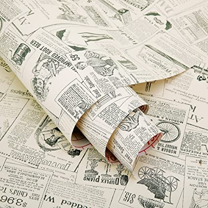 Amazon SimpleLife40U Vintage Newspaper Decorative Contact Paper Unique Contact Paper Decorative Designs